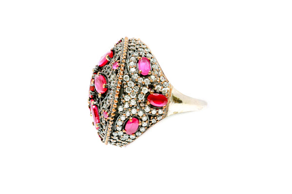 Turkish Silver Statement Ring With Floral Design - Trendz & Traditionz Boutique