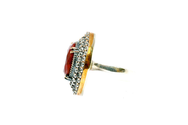 Turkish Silver Ring With Ruby Red Stone - Trendz & Traditionz Boutique