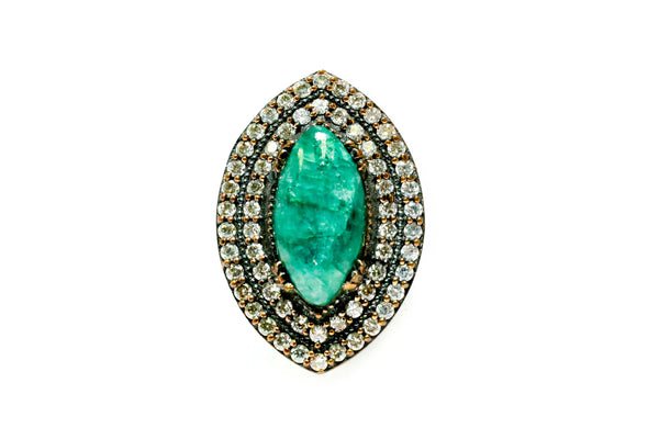 Marquise Cut Emerald Green Stone Ring - Trendz & Traditionz Boutique