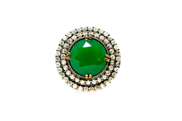 Turkish Silver Green Shield Ring - Trendz & Traditionz Boutique