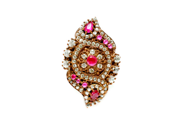 Turkish Silver Ring With Magenta & White Stones - Trendz & Traditionz Boutique