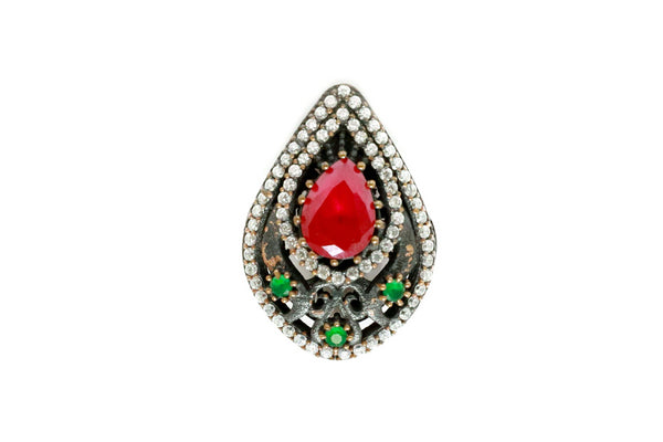 Turkish Silver Tear Drop Statement Ring  - Trendz & Traditionz Boutique
