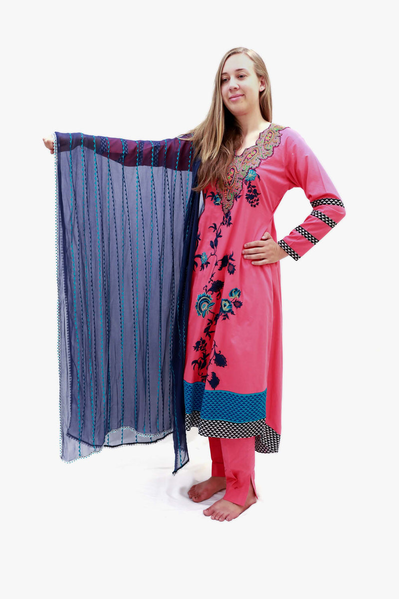 Pink Cotton Embroidery Suit - Trendz & Traditionz Boutique