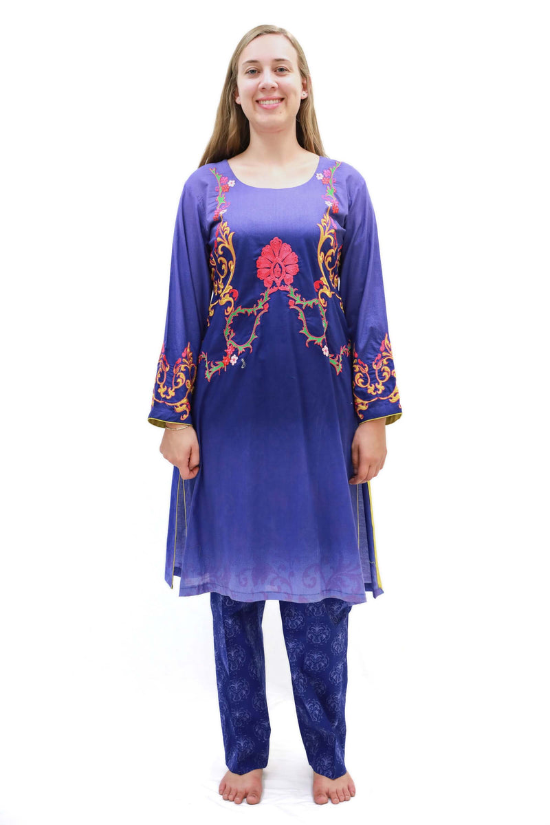 Navy Blue Cotton-Lawn Suit - Trendz & Traditionz Boutique