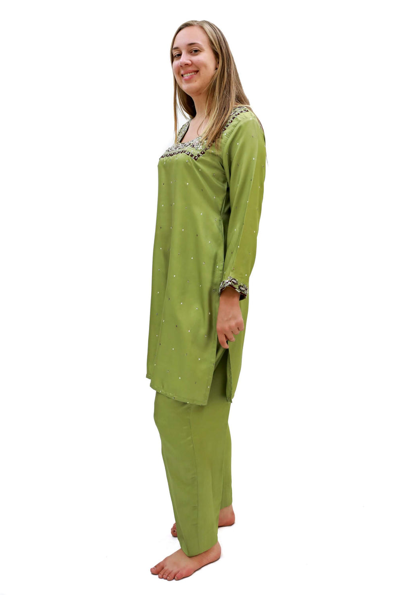 Green Silk Salwar Kameez- Trendz & Traditionz Boutique