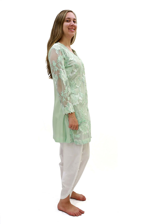 Green Net Thread and Motif Shirt - Trendz & Traditionz Boutique