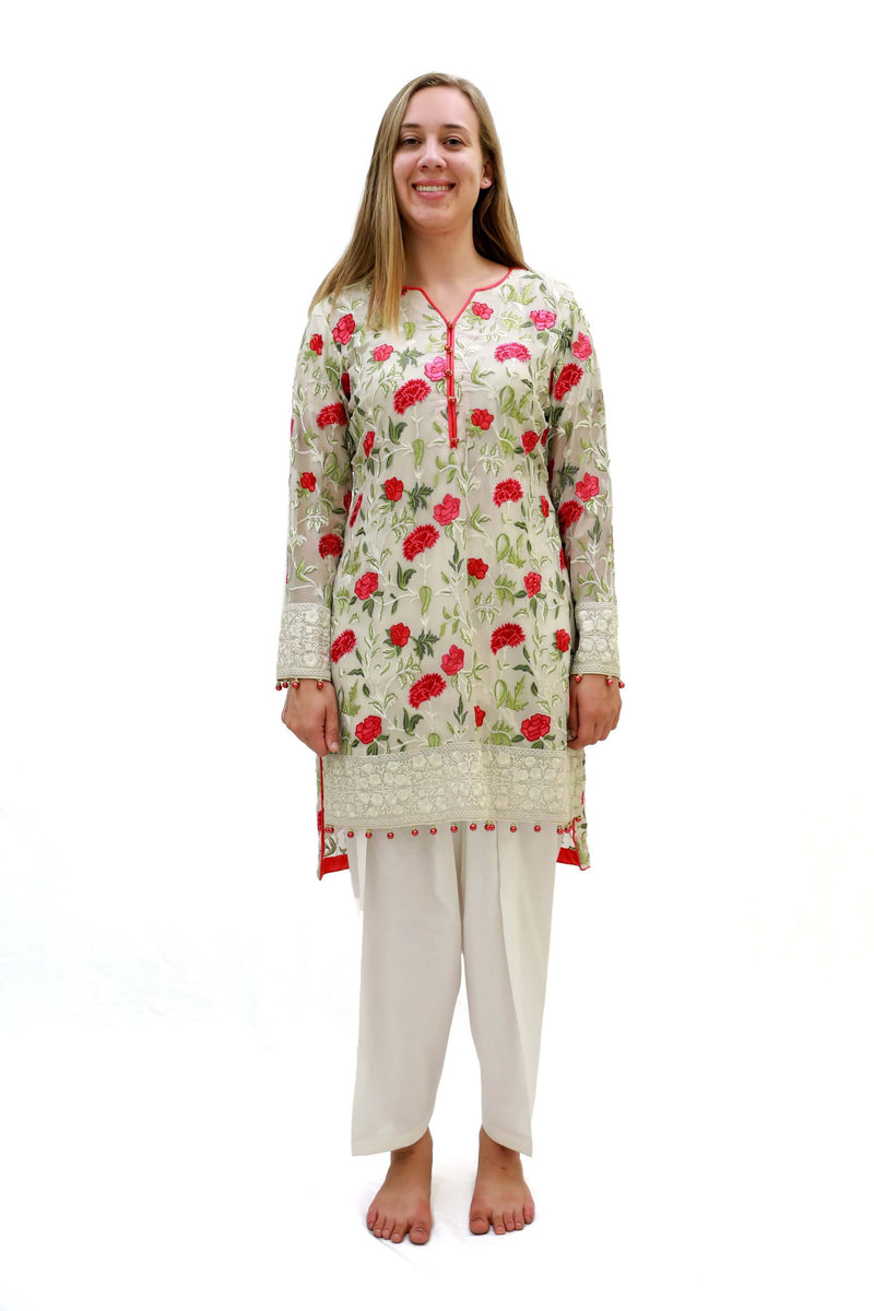 Thread and Motifs Beige Chiffon Floral Embroidered Shirt- Women's South Asian Fashion