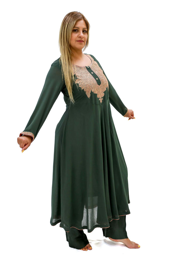 Green Chiffon Salwar Kameez - Kashmir Suit - South Asian Fashion and Clothing