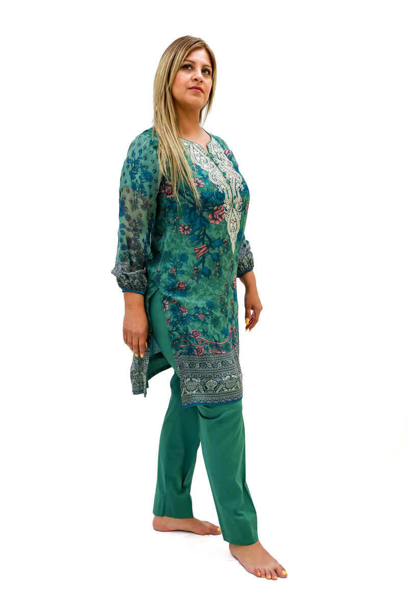 Green Chiffon Khaadi Suit - Trendz & Traditionz Boutique
