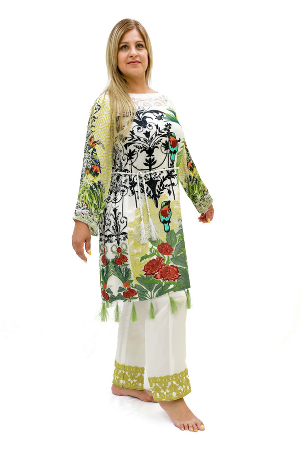 White Chiffon Salwar Kameez - Designer Suit - South Asian Fashion