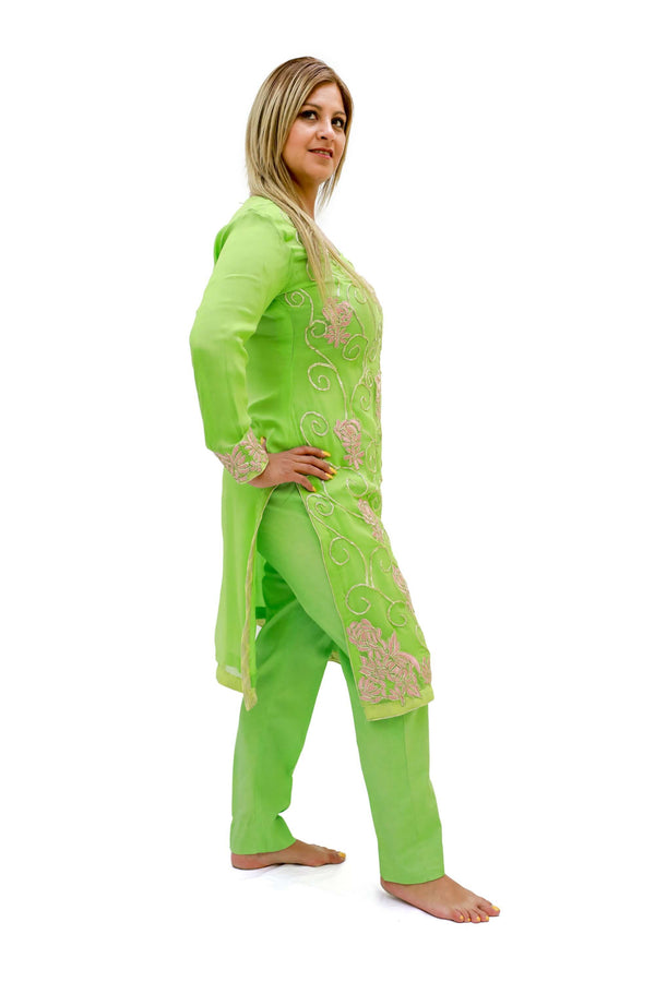 Light Green Chiffon-Silk Suit - Trendz & Traditionz Boutique