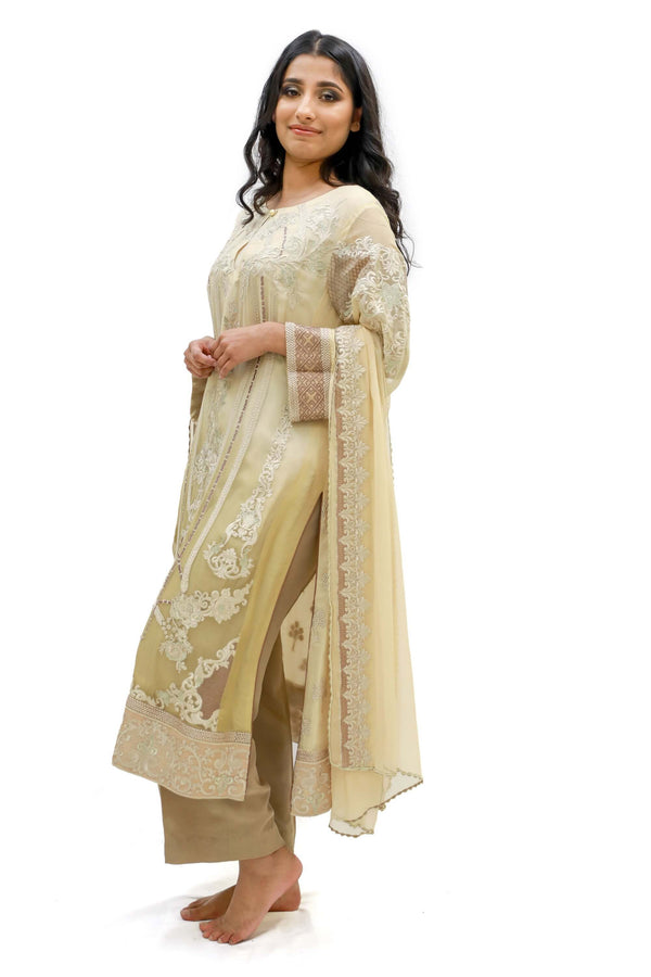 Gold & Beige Salwar Kameez - Suit - Sobia Nazir Silk Collection