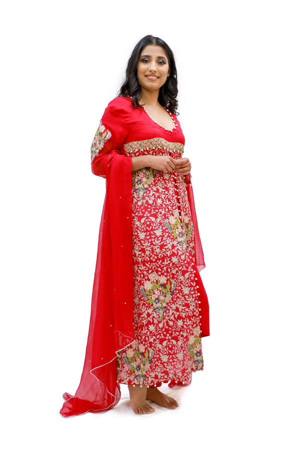 Red Chiffon Embroidered Salwar Kameez - Suit - South Asian Fashion