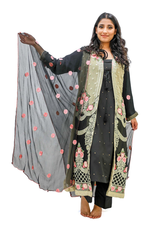 Black & Gold Embroidered Salwar Kameez - Suit - South Asian Fashion