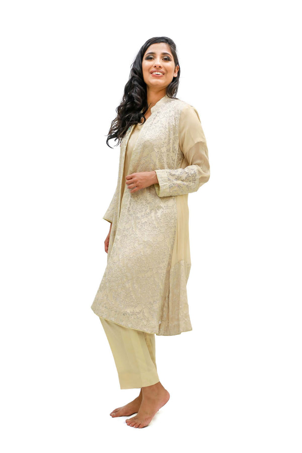 Beige Cotton Silk Suit- Trendz & Traditionz Boutique