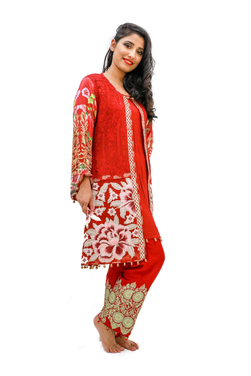 Red Chiffon & Silk Salwar Kameez - Suit - Women's South Asian Fashion