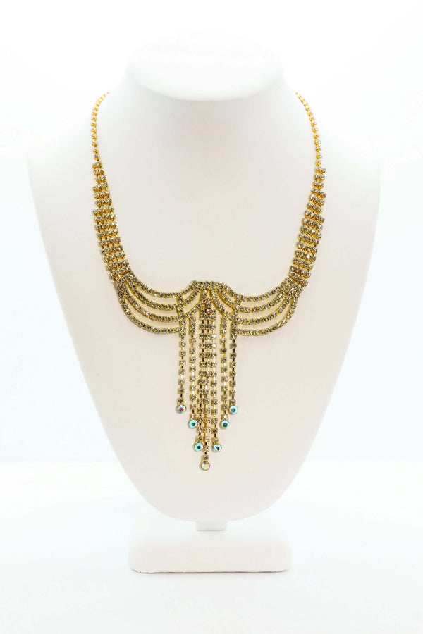 Gold Dangling Necklace with Diamantes - Trendz & Traditionz Boutique
