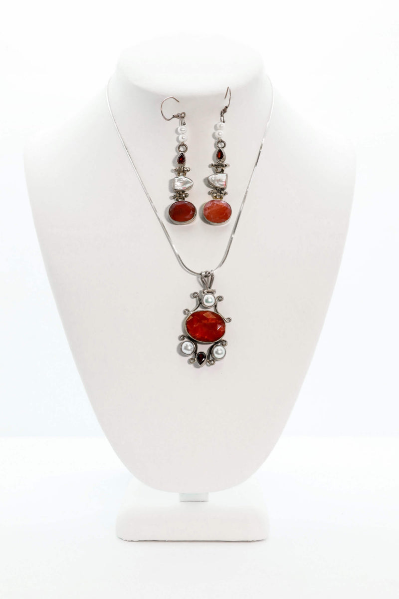 Silver Necklace and Earring Set with Red Stones - South Asian Fashion & Unique Home Decor