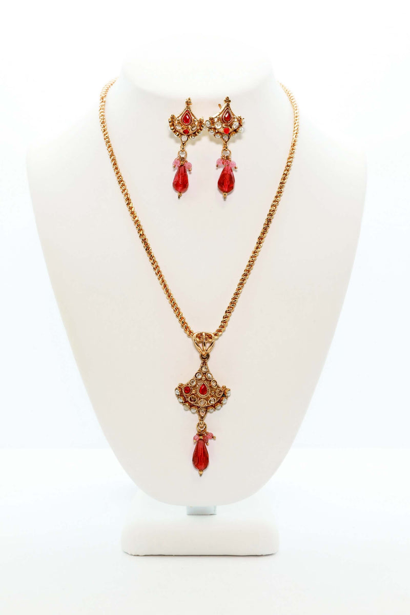 Golden Necklace Set With Magenta Accents - Trendz & Traditionz Boutique