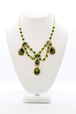 Green Earrings With Large Peridot Colored Stone and Golden Green Crystal Necklace