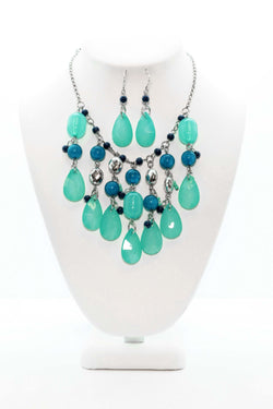 Silver and Blue Necklace and Earring Set - South Asian Fashion & Unique Home Decor