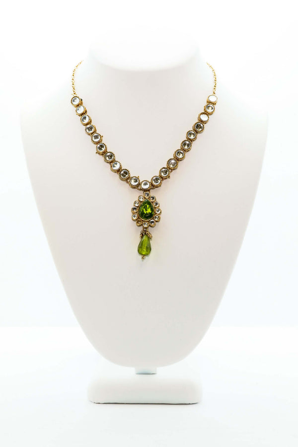 Golden Green stone Necklace- Trendz & Traditionz Boutique