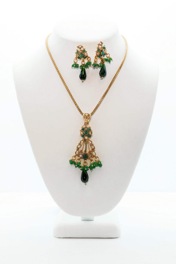 Golden Necklace and Earring Set with Green Stones - Trendz & Traditionz Boutique