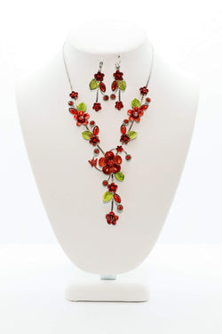 Maroon Flower Vine Necklace - High Quality Jewelry and Accessories