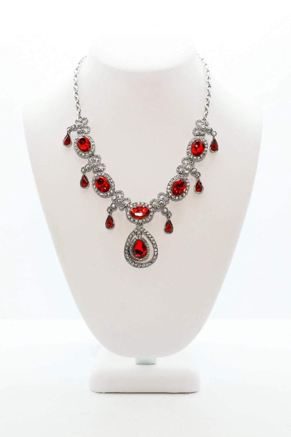 Ruby Statement Necklace Set in Silver - South Asian Fashion & Unique Home Decor