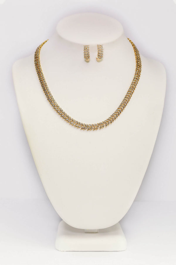 Sterling Silver Gold Necklace & Earrings Set - Trendz & Traditionz Boutique