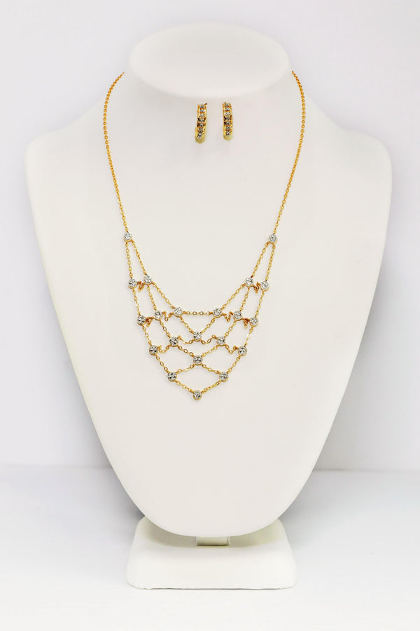 Sterling Silver Gold Three Layered Necklace Set - Trendz & Traditionz Boutique