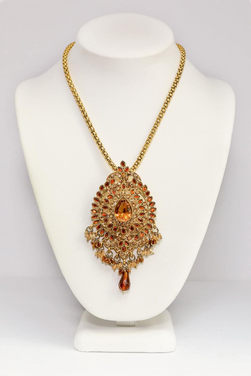 Gold Statement Pendant Necklace - Trendz & Traditionz Boutique