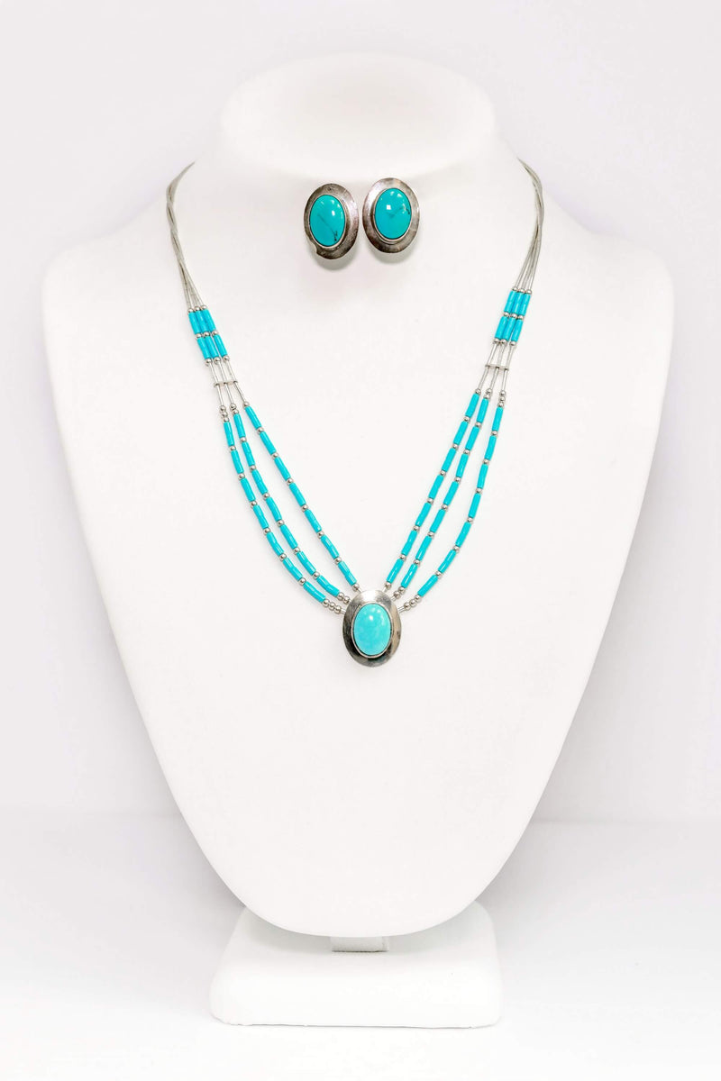 Oval Turquoise & Silver Jewelry Set - South Asian Jewelry