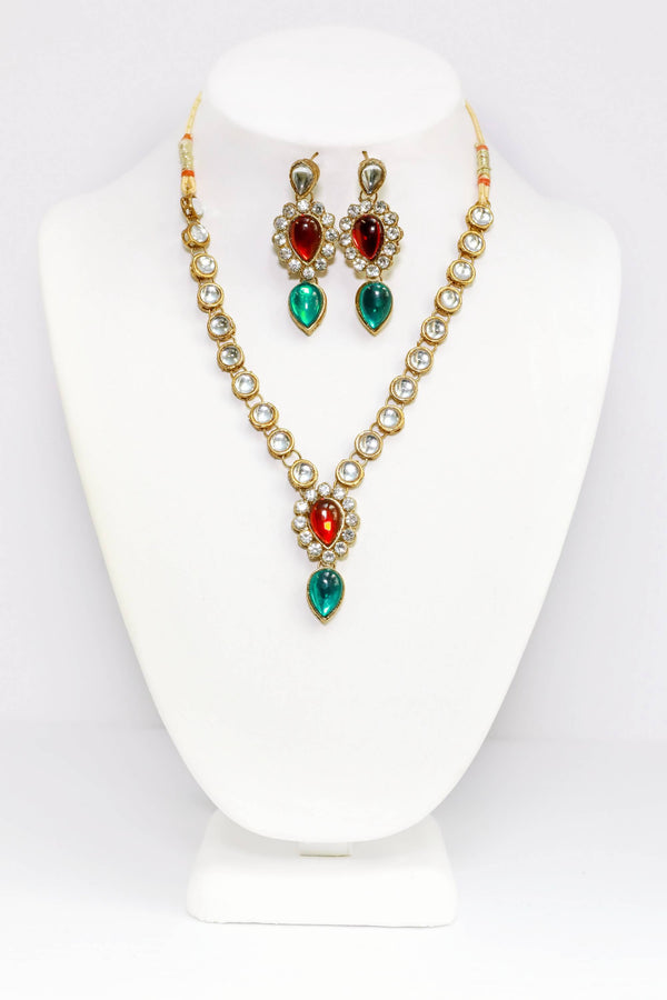 Handcrafted Red & Green Jewelry Set - Indian - South Asian Accessories