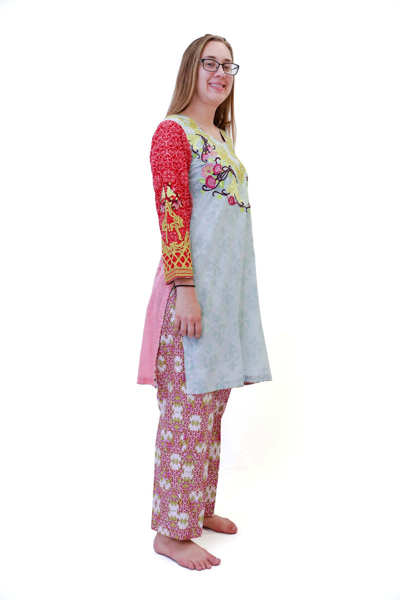 Multi Color Cotton Salwar Kameez - Suit - South Asian Fashion