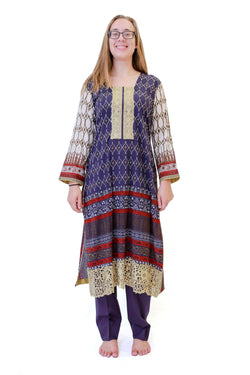 Purple & Beige Cotton Salwar Kameez - Suit - South Asian Fashion