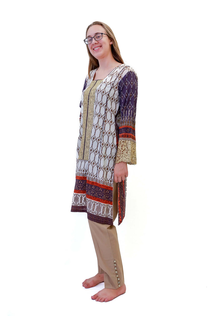 Cotton Purple & Orange Salwar Kameez - Suit - South Asian Fashion