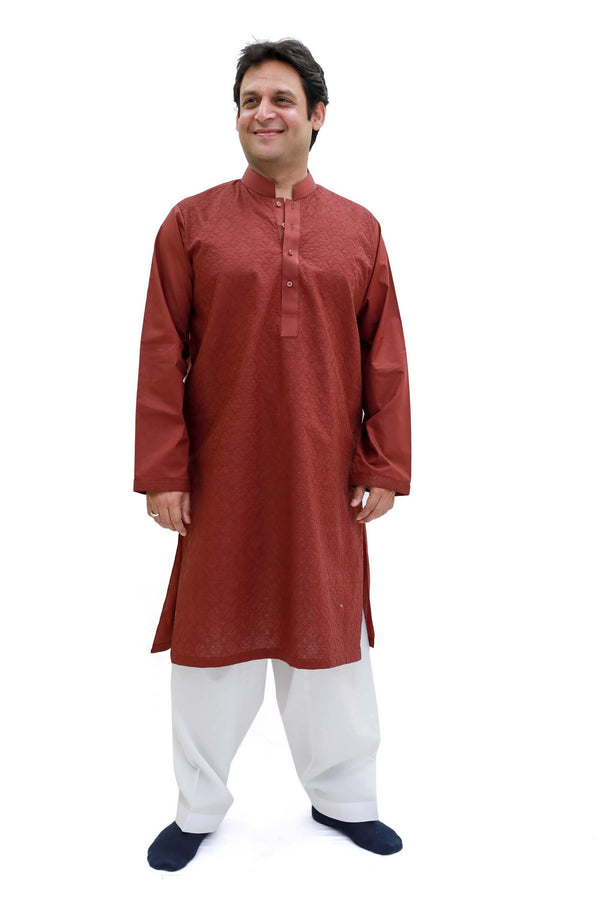 Maroon Cotton Embossed Shirt - Trendz & Traditionz Boutique