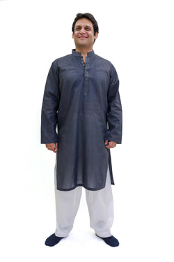 Blue-Grey Cotton Kurta - Shirt - Men's South Asian Fashion