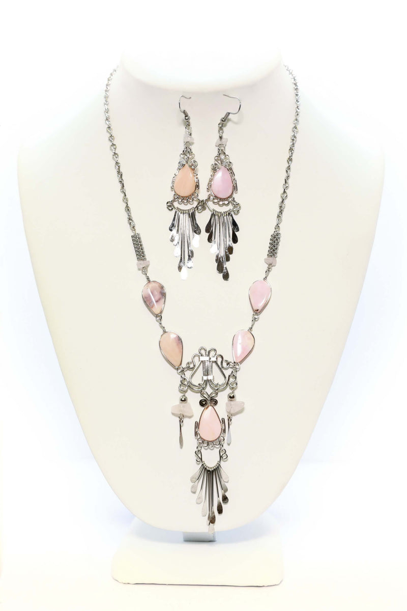Pink Stone Necklace & Earrings Set - South Asian Fashion & Unique Home Decor