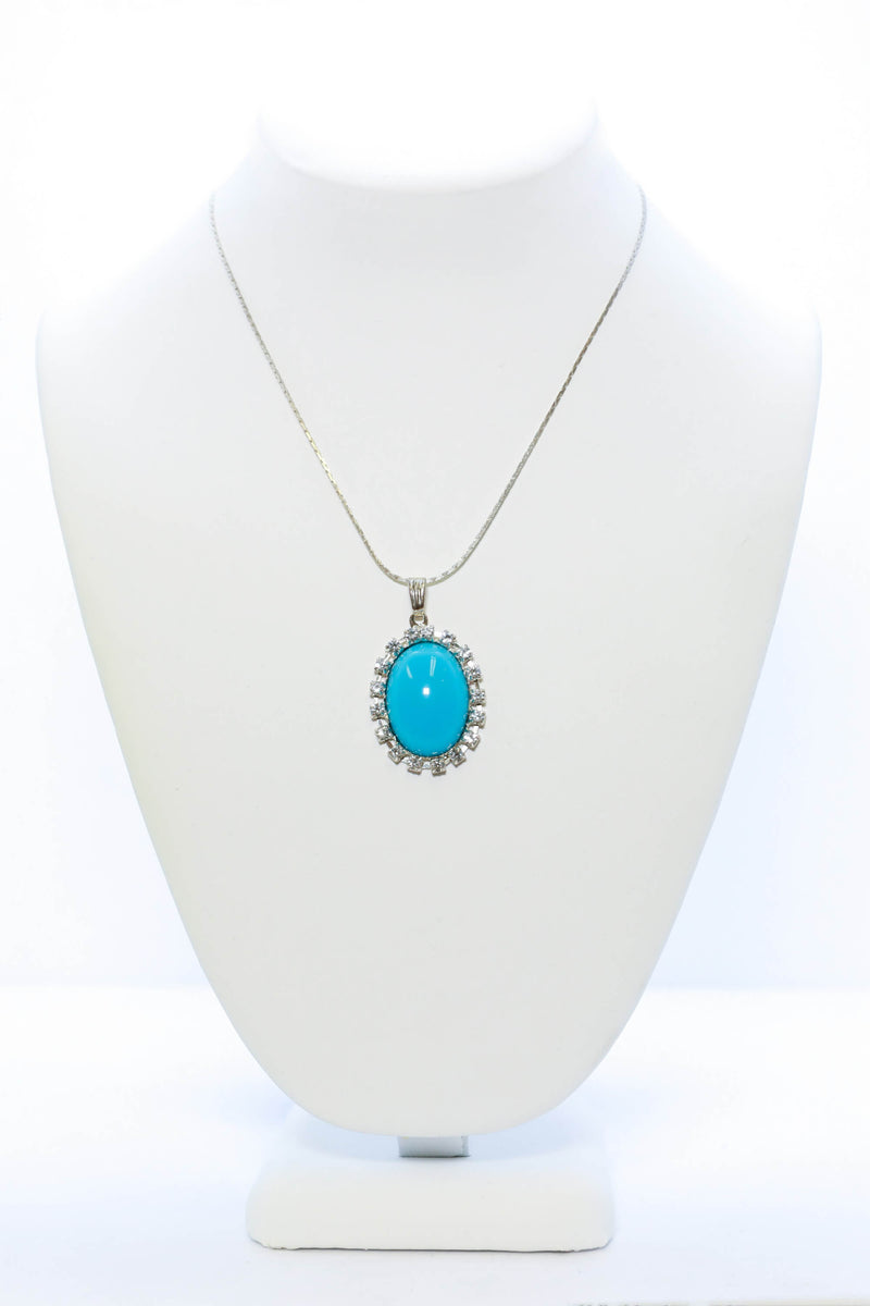 Blue Pendant Silver Necklace - Trendz & Traditionz Boutique