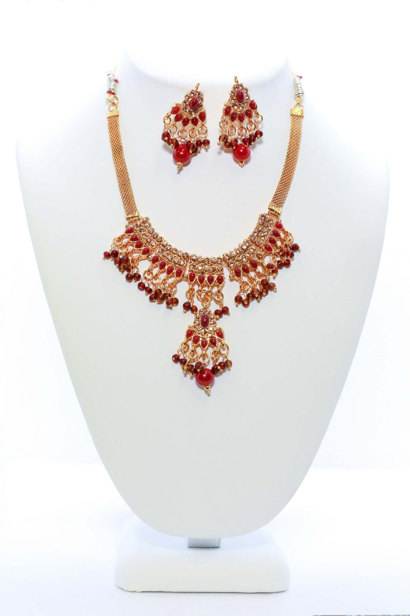Golden and Red Necklace and Earring Set - Trendz & Traditionz Boutique