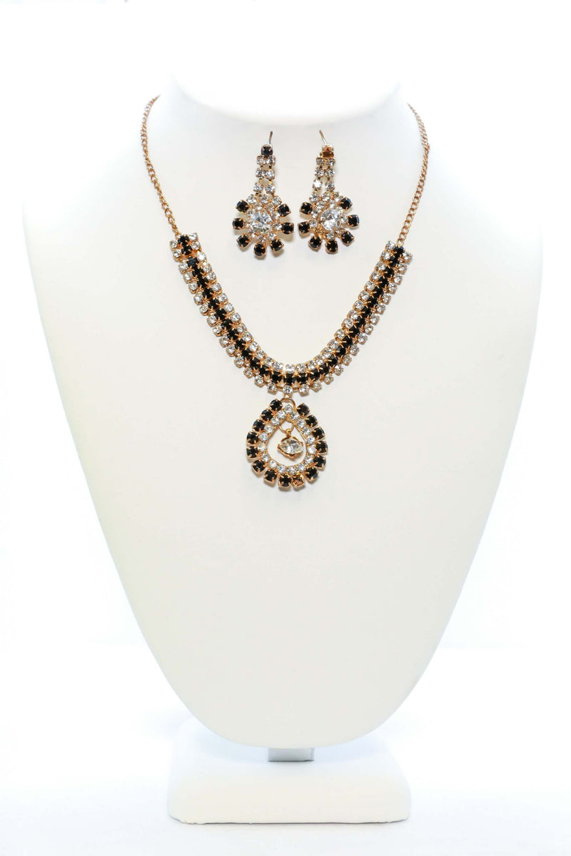 Golden and Black Necklace and Earring Set - Trendz & Traditionz Boutique
