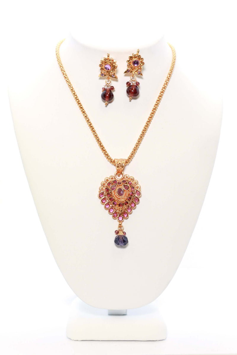 Golden Necklace and Earring Set with Violet Stones - Trendz & Traditionz Boutique