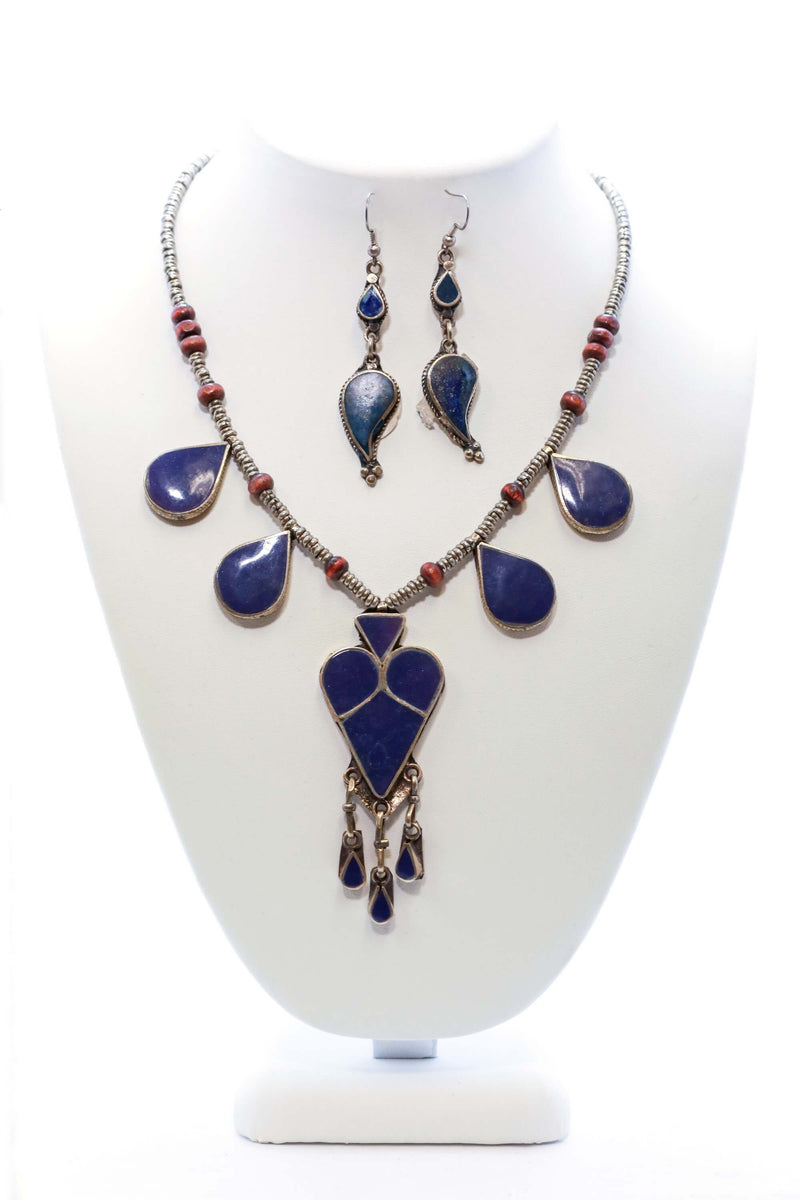 Silver and Dark Blue Necklace and Earring Set - South Asian Fashion & Unique Home Decor
