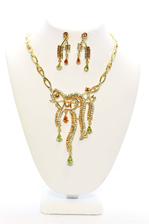 Unique Golden Necklace and Earring Set - South Asian Fashion & Unique Home Decor