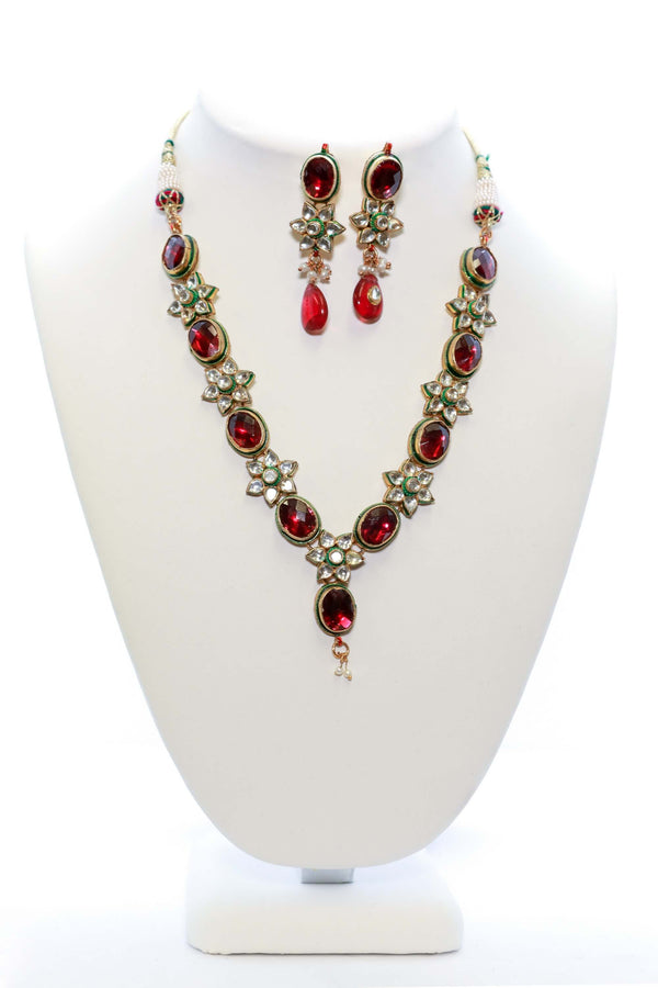 Ruby Red & White Crystal Statement Set - South Asian Fashion & Unique Home Decor