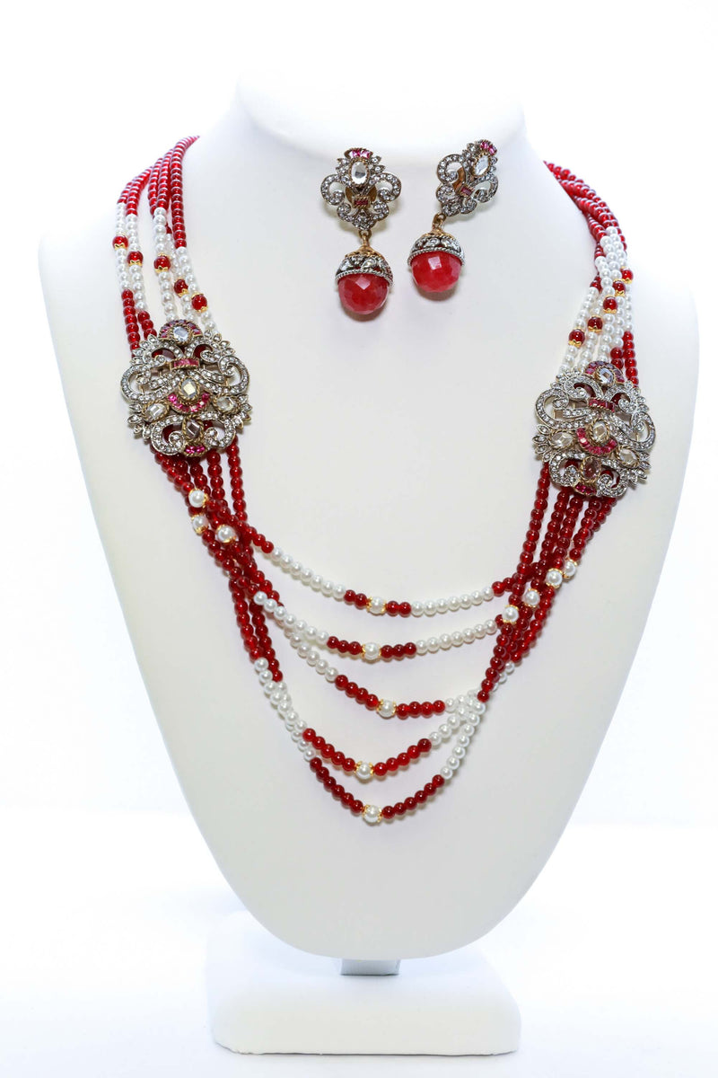 Red and White Necklace and Earring Set From India - South Asian Fashion & Unique Home Decor