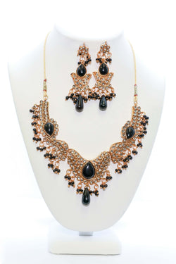 Golden Necklace and Earring Set With Black Stones - Trendz & Traditionz Boutique