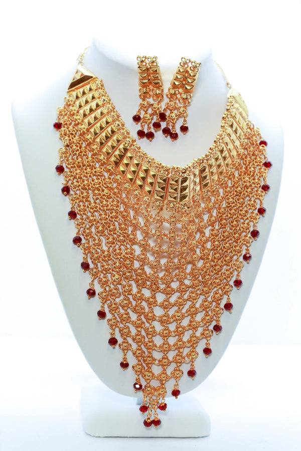 Large Golden Necklace with Matching Earrings - Trendz & Traditionz Boutique